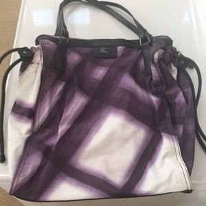 Burberry leather and fabric tote